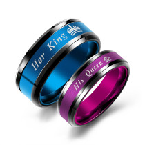 Wholesale Men's Women's Stainless Steel Her King & His Queen Wedding Band Promise Ring for Lovers