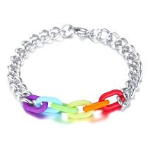 Wholesale Rainbow Link Bracelet Stainless Steel Cuban Curb Chain Bracelet
