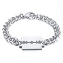 Wholesale Men's Stainless Steel Razor Blade Charm Chain Bracelets