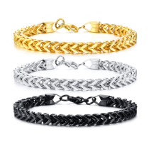 Wholesale Stainless Steel Men's Curb Chain Bracelet with Lobster Clasp Available in 3 Colors