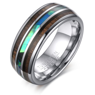 Wholesale Tungsten Carbide Hawaiian Koa Wood and Abalone Shell Ring 8mm