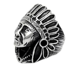 Jewelry Stainless Steel Hip-Hop Indian Chief Headdresses Punk Skull Ring Wholesale