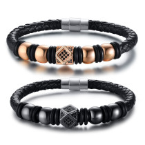 Wholesale Mens Bracelet With Leather And Beads