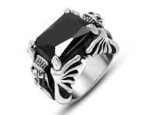 Wholesale Rings Mens Double Dragon CZ Sword 316L Stainless Steel Ring Fashion Jewellery