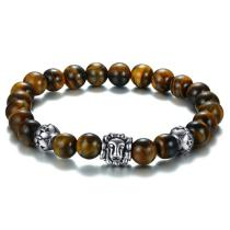 Wholesale Stainless Steel Classic Brown Tiger Eye Men Stretch Bracelet