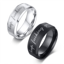 Wholesale Hot Keep Fucking Going Stainless Steel Men Ring Band Black Ring Boyfriend Husband Gifts Size 6-13