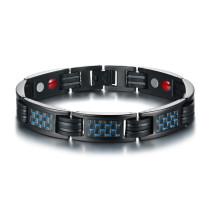 Wholesale Men's Black Polished Stainless Steel Magnetic Bracelet with Blue Carbon Fiber Adjustable