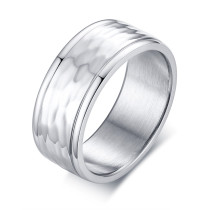 Wholesale Stainless Steel Mens Fancy Hammered Wedding Band