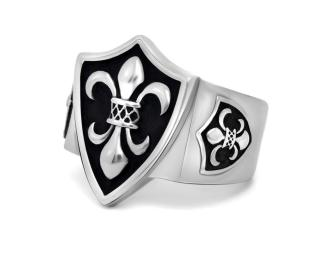 Wholesale Stainless Steel Royal Fleur De Lis Shield Wide Cast Ring