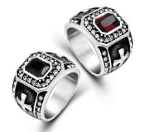 Wholesale Black Onyx Stone Band Ring Men In Stainless Steel Vintage Iron Cross Personality Mens Jewelry