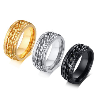 Wholesale European Style Cool Stainless Steel Rotatable Chain Men's Ring