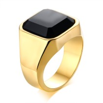 Wholesale Stainless Steel Mens Black Agate Ring