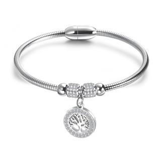 Wholesale Stainless Steel Womens Tree of Life Bead Bracelet