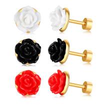 Wholesale Stainless Steel Women Rose Flower Stud Eearrings Online