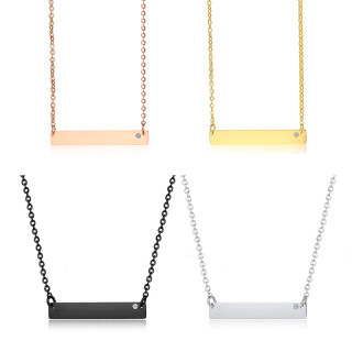 Wholesale Stainless Steel Horizontal Bar Pendant Necklace Engraved