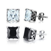 Wholesale Steel Classic Cubic Zirconia Stud Earrings