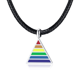 Wholesale Stainless Steel LGBT Rainbow Necklace