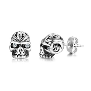 Wholesale Stainless Steel Skull Bling Stud Earrings