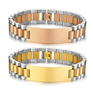 Wholesale Stainless Steel 15mm Mens ID Bracelets Engraved
