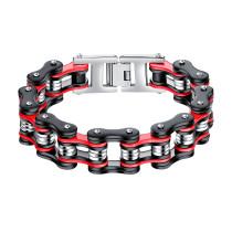 Wholesale Steel Red and Black Bike Chain Bracelet