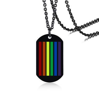 Wholesale Stainless Steel Dog Tag Rainbow LGBT Pride Necklace