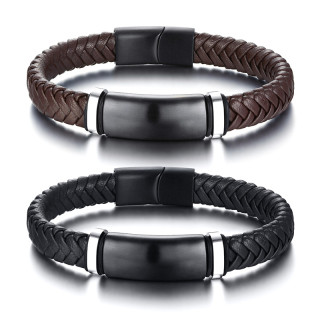 Wholesale Stainless Steel Blanks of Leather Bracelets