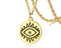 Wholesale Stainless Steel Women Eye Pattern Coin Pendant Necklace