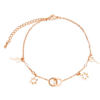 Wholesale Stainless Steel Style Rose Gold Plating Chain Fashion Women Extended Anklet