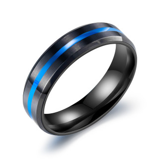 Wholesale Stainless Steel 6mm Flat Dual Tone Black-Blue Band Ring