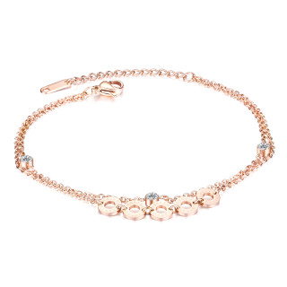 Wholesale Stainless Steel Rose Gold Cubic Zirconia Anklet Bracelet Pack