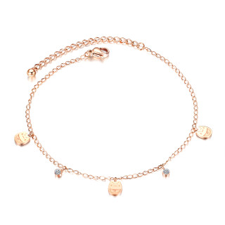 Wholesale Stainless Steel Lucky Cat Cubic Zirconia  Anklet