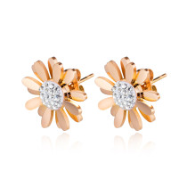 Wholesale Stainless Steel Rose Gold Daisy Stud Earrings