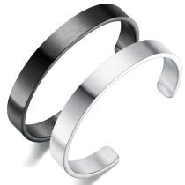 Wholesale Men's Stainless Steel Flattened Plain Cuff Open Bangle Bracelet