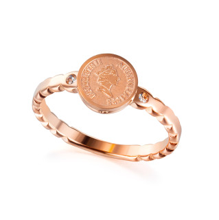 Wholesale Stainless Steel Retro Queen Elizabeth Coin Ring
