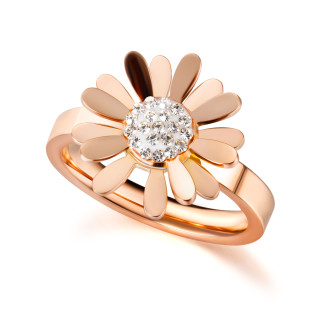 Wholesale Stainless Steel Rose Gold Daisy Ring