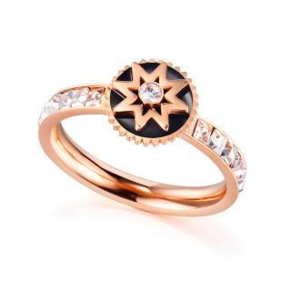 Wholesale Stainless Steel Women Stylish Flower Zircon Rings