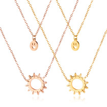 Double Layers Smiley Sun Stainless Steel Necklace Wholesale