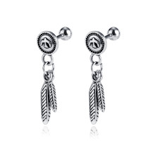 Wholesale Stainless Steel Vintage Feather Dangle Earrings