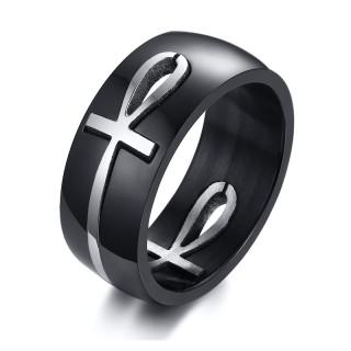 Wholesale Stainless Steel Fashion Steel & Black Anka Rings