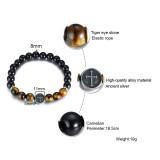 Wholesale Men Tiger Eye Stone Cross Bracelet