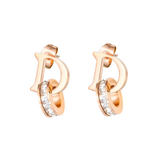Wholesale Stainless Steel D-Shaped Diamond Stud Drop Earrings