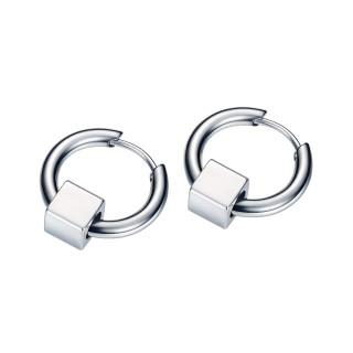 Wholesale Stainless Steel Mens Hoop Earrings With Square Beads
