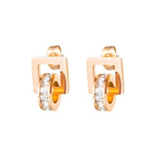 Wholesale Stainless Steel Interlocking Rose Gold Zircon Earrings
