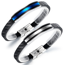Wholesale Stainless Steel New Cool Men Leather Bangle Bracelet