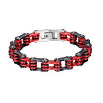 Wholesale Stainless Steel Mens Black/Red Bike Chain Bracelet