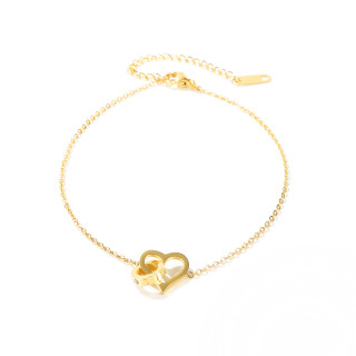 Wholesale Stainless Steel Heart Together Forever Link Anklet