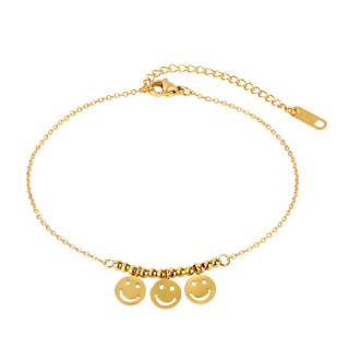 Wholesale Stainless Steel Chains Bead Smile Face Anklet
