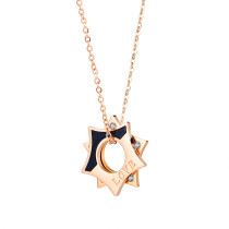Wholesale Stainless Steel Rose Gold Hollow Star Rhinestone Pendant Necklace