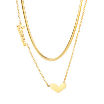 Wholesale Stainless Steel Women Gold Snake Bone Double Necklace