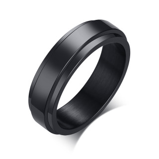 Wholesale Black Stainless Steel Classic Spinner Ring